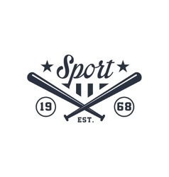Classic Sport Label With Crossed Bats vector image