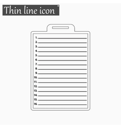 Clipboard with check list icon Style thin vector image vector image