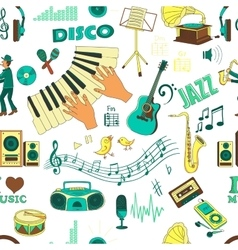 Colored hand draw music psttern vector image vector image