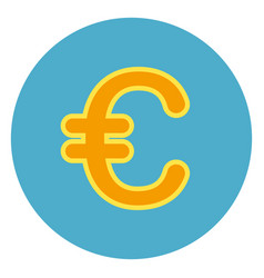euro sign currency sign icon on blue round vector image