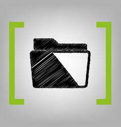 folder sign black scribble vector image vector image