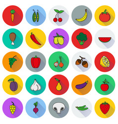 Food icon set color vegetables and meat vector