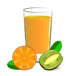 fresh orange kiwi juice vector image