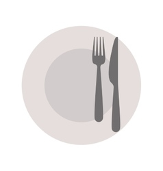 Gray plate and pieces of cutlery vector