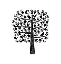 Hand tree in black and white vector
