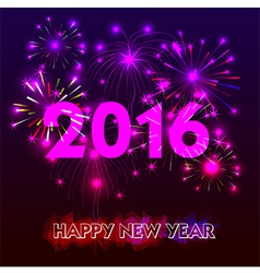 Happy New Year 2016 with fireworks background vector image vector image