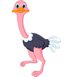 happy ostrich cartoon vector image vector image
