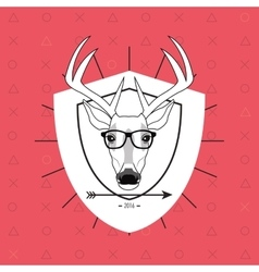 Hipster style deer image vector