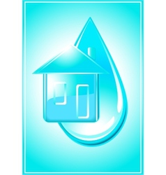 house and drop of water vector image vector image
