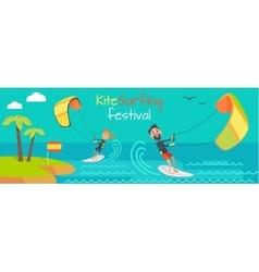 Kitesurfing festival banner style of kiteboarding vector