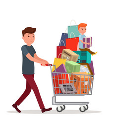 man with full shopping basket of food vector image vector image
