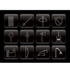 medieval arms and objects icons vector image vector image