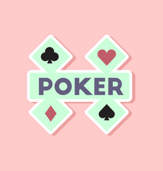 Paper sticker on stylish background poker logo vector