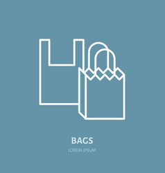 Plastic bag paper packaging flat line vector