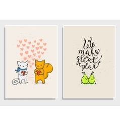 Posters with funny phrases about love vector