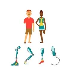 Prosthetic limbs flat icons modern exoskeleton vector