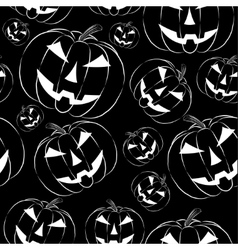 Pumpkin lantern in outline style seamless vector image
