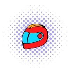 Racing helmet icon comics style vector image