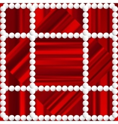 Red striped background with white beads vector