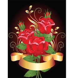 roses and ribbon vector image