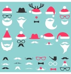 Santa hats mustache and beard set vector