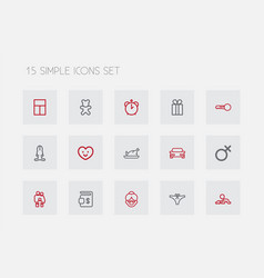 Set of 15 editable family outline icons includes vector