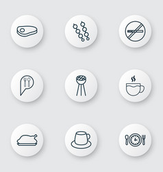 Set of 9 food icons includes stop smoke tea vector