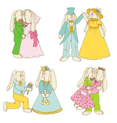 Set of Bunny Dolls - in Love Wedding vector image