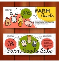 Set of discount coupons for eco food goods vector
