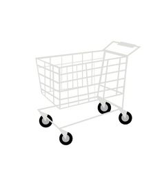 Shopping Cart or Trolley on White Background vector image