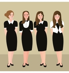 Woman in formal dress receptionist black and white vector