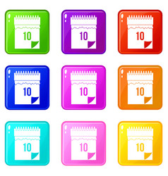 10 date calendar icons 9 set vector