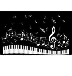 Piano keyboard with music notes4 vector
