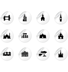 Stickers with landmark icons vector image