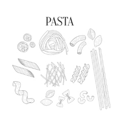 Italian pasta assortment isolated hand drawn vector