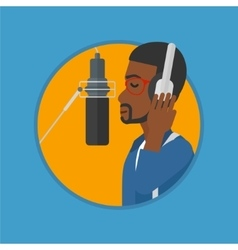 Singer recording song vector