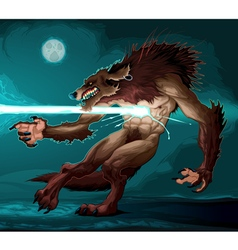 Werewolf is fighting with a lighting vector