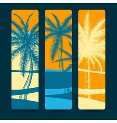 Summer style bookmarks with palm trees vector