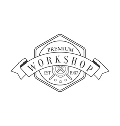 Hexagon And Ribbon Premium Quality Wood Workshop vector image