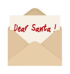 Dear santa card in brown envelope the letter vector