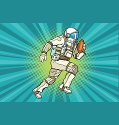 Astronaut athlete american football vector
