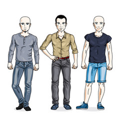 Happy men standing in stylish casual clothes set vector