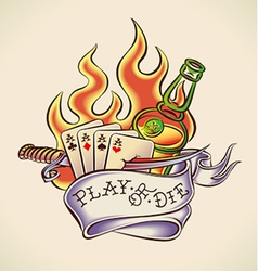 Play of die - tattoo design vector image