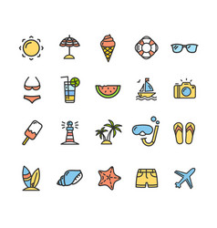 Summer icon color thin line set vector