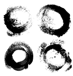 Round textured prints with paint on paper set 1 vector image
