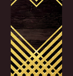 Gold glittering lines pattern on wooden vector