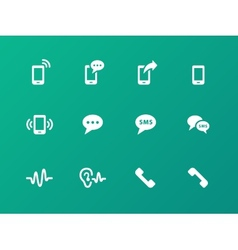 Phone icons on green background vector