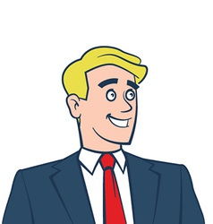 Happy smiling businessman looking away vector image