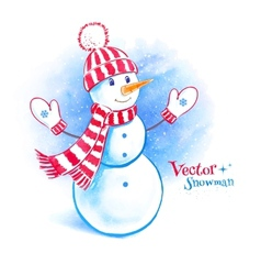 Watercolor cute snowman vector