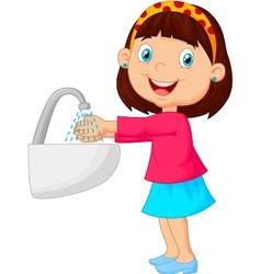 Young girl washing her hands vector